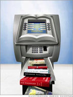 Illustration of an ATM Book Machine by Aaron Goodman