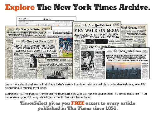 image of NY Times newspapers archived